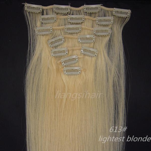 "best selling 15""-26"" 7pcs 613# Lightest Blonde Wholesale Prices Brazilian Peruvian Indian Malaysian 100% Virgin Remy Human Hair Clip in Hair Extensions"