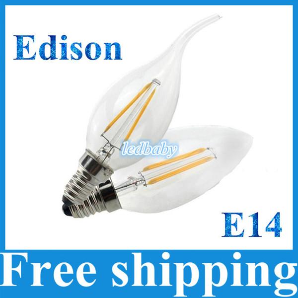Новый стиль Эдисон нить светодиодные свечи лампы 2 Вт 4 Вт E14 светодиодные лампы свет Высокий яркий 120LM / W теплый белый светодиодные лампы