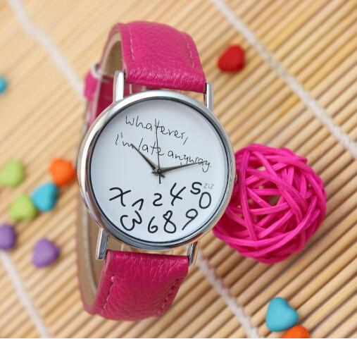 2015 New Women Leather Band Quartz Watches Girls Students Wristwatches Whatever i'm late Anyway Irregular Figure Watches