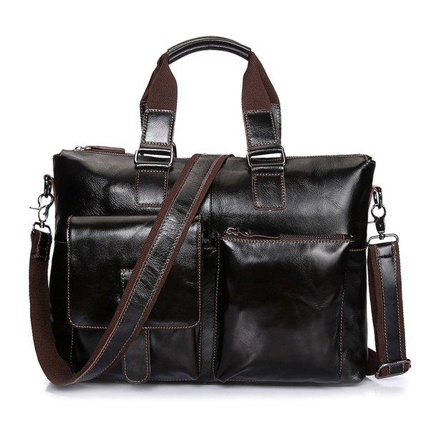 "Wholesale- Waxed Genuine Cow Leather Man Crossbody Shoulder Bags Vintage Brown Men Handbags Messenger bag Briefcases for 14"" Laptop bolsos"