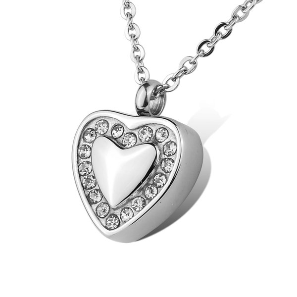 Lily Crystal Heart Urn Necklace Pendant Memorial Ash Keepsake Cremation Jewelry with gift bag and chain