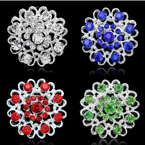 Christmas Rhinestone brooches 6 colors love heart hollow crystal brooches silver plate pearl pins round hollow forever love