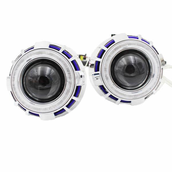 Angel Eyes lights voiture Lens Phare xénon caché lentille de projecteur H4 H7 h1 2.8inch angel eye BI-Xenon HID Kit de projecteur rouge bleu blanc phare