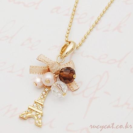Charm Jewelry Pendant Chain Crystal Jewelry Gold Plated Bow Tower Statement Necklace Woman bowknot France Paris Eiffel Tower Pendants Chains