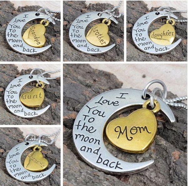 Regalo por mayor-mamá Te amo a la luna y atrás Cadenas de mamá Collar Nueva moda Encantos Joyas Corazón Hija Abuela Plata Tono dorado