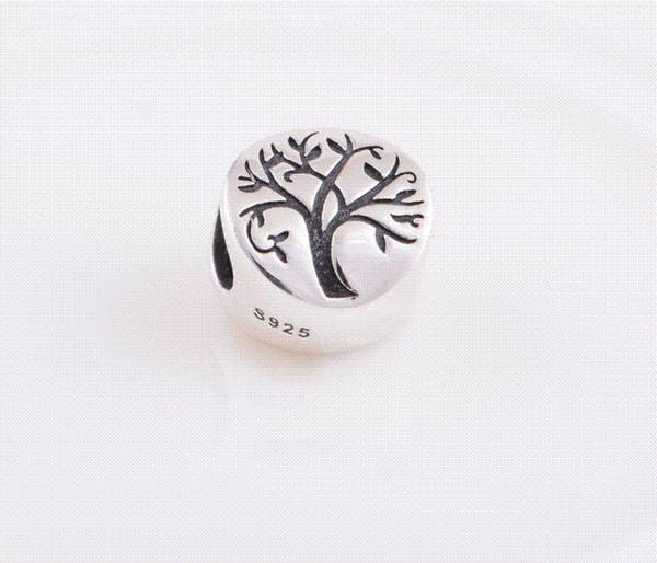 Новый подлинный стерлингового серебра 925 бисера круглый дерево шаблон очарование DIY женщины ювелирные изделия подходит для Pandora стиль шарм браслеты