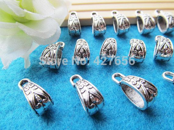 500pcs 100pcs Filigree Antique Silver tone Bails Beads Connector Pendant Cham Finding,Fit Charm Bracelet Necklace,DIY Accessory