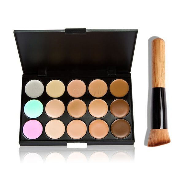 best selling Professional Cosmetic Salon Party 15 Colors Camouflage Palette Face Cream Makeup Concealer Palette Make up Set Tools With Brush