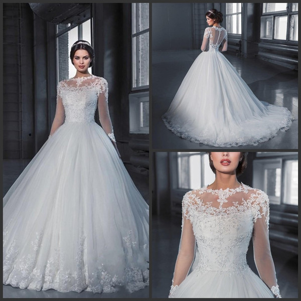 Robe de bal princesse robe de mariée en dentelle à manches longues voir à travers tulle robes de mariée cru robe de mariage robe de noiva 64