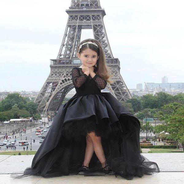 Black Ball gown Beauty Flower girl Dresses High Low Satin Sweep train Hot sale Cheap long sleeve Little girls Dress for Children