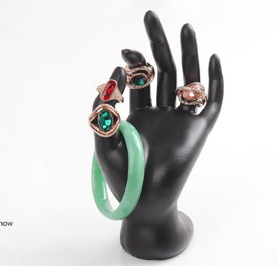 New 1pcs Black Velvet Resin Jewelry Ring Bracelet Necklace Hanging Hand Display Holder Stand Show Rack AF