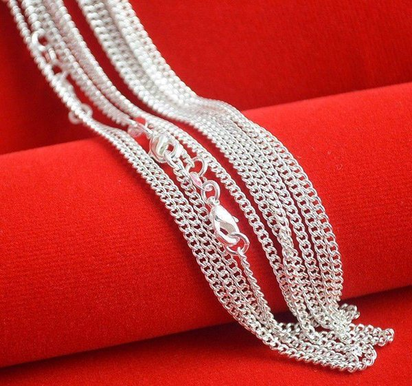"""Hot Sale ! 10pcs /Lot Fashion Silver Necklace Chain ,2mm 925 Jewelry Silver Plated Curb Chain Necklace 16 """"-30 """",Pick Length !"""