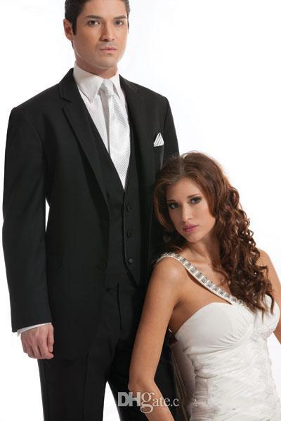 New Black 2014 Groom Tuxedos Three Piece Two Buttons Notch Lapel Waistcoat wedding suit Groomsman Bridesman Clothing Business Formal Su-q162