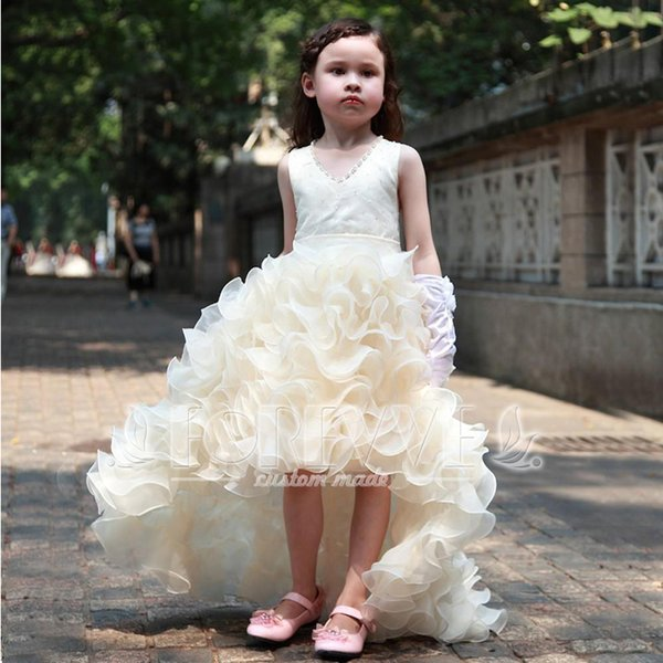 Lovely Champagne Hi-Lo Tiered Flower Girl Dress Beaded Pageant ...