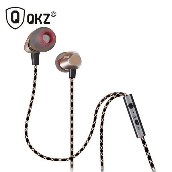 Wholesale-QKZ X36M Enthusiast Bass Ear Headphones Copper Forging 7MM Shocking Antinoise Earphone With Microphone Sound Quality Gold plated