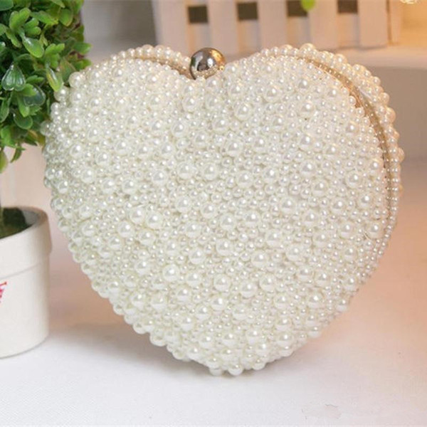 Women Heart Shape Pearl Beaded Evening Bag Bridal Purse Wedding Shoulder Bag Cell Phone Pouch