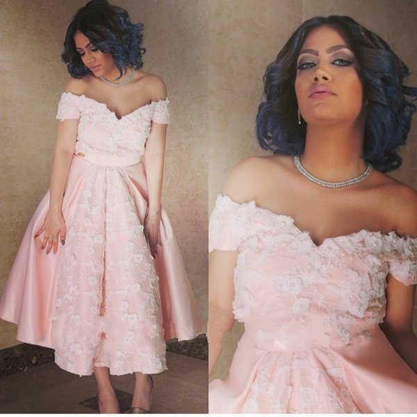 Vintage Sexy Pink Short Prom Dress Off The Shoulder Holiday Tea Length Formal Evening Gown Floral Flowers african dresses evening wear 2018