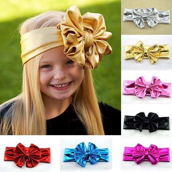 2015 new Baby Girl Cotton Head wrap Gold Big Bows Headbands Hair Band blend fabric elastic Knot Headbands Baby Hair accessories 20pcs