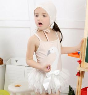 best selling Summer new children swimwear girls beaded sequins swan tulle skirt swimwear kids suspender Siamese swimsuits beach swimsuit A6007