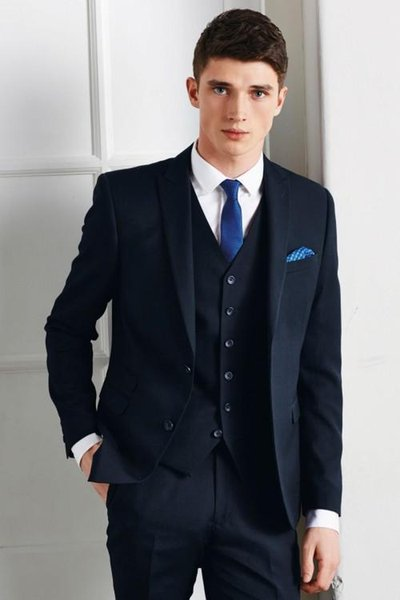 The latest blue man wedding suit lapel two buttons for slimming three-piece best man suit (jacket + pants + vest)