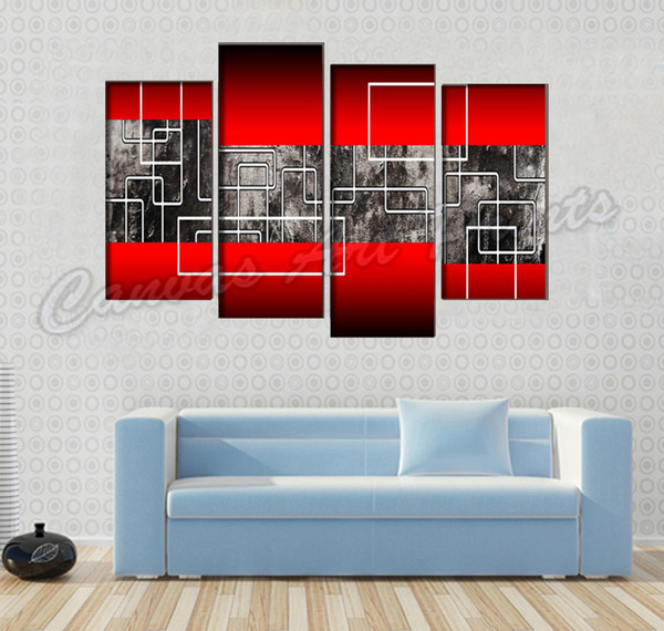Wholesale Modern Abstract Canvas Art Painting 4 Piece Wall Art Canvas Decor Picture Cheap Paintings for Living Room Wall