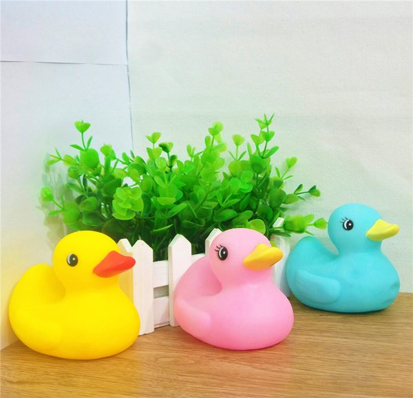 Color Duck Safety Baby Bath Water Toys Press Sounds Kids Sand Play Water Fun Kids Swimming Toys Birthday Gifts for Children 45pcs/lot