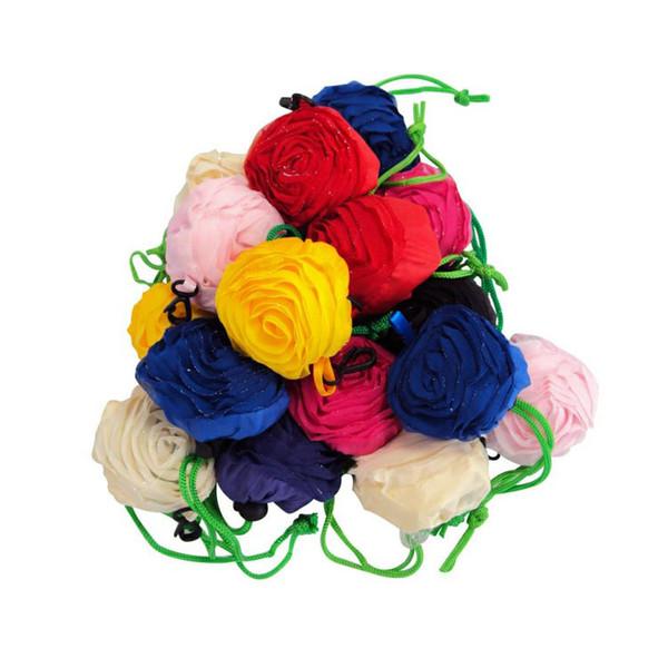 MIC 10 Colors Originality Pretty Rose Foldable Eco Reusable Environmental Shopping Bags 38cm x58cm MIN 5PCS