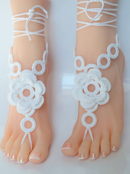 Handmade Womens Shoes,Crochet Barefoot Sandals, Nude shoes, Beach Wedding, Sexy, Belly Dance,Beach Footwear, jewelry for foot