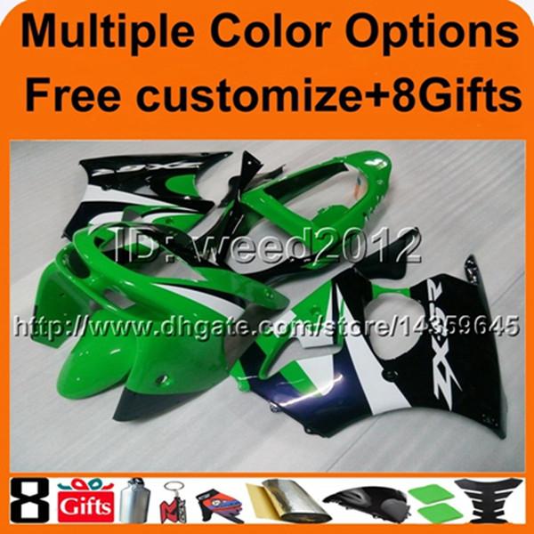 colores + 8Regalos GREEN ZX-636 1998 1999 ZX6R 98 99 capota de moto para carenado ABS de Kawasaki