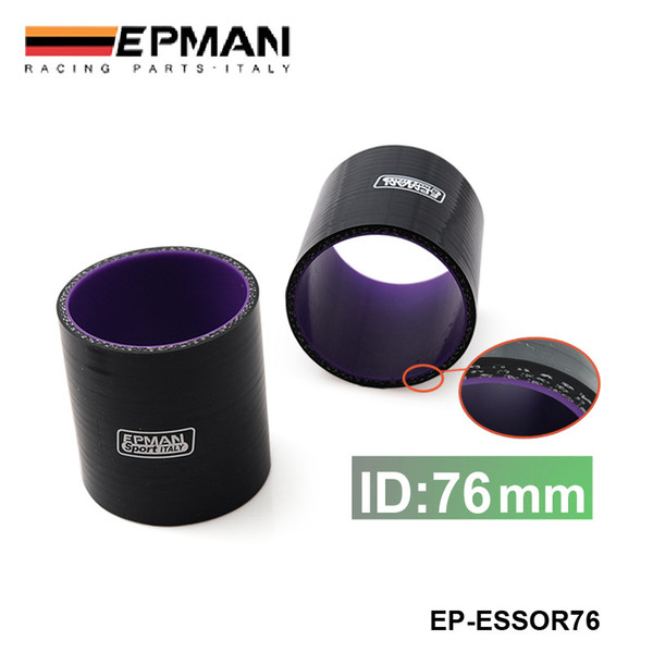 "EPMAN High Quality Universal 3"" 76mm 3-Ply Silicone Intercooler Turbo Intake Pipe Coupler Hose BLACK EP-ESS0R76"
