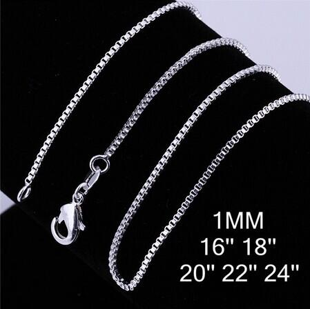 """925 Sterling Silver plated Necklace Chain 16""""18""""20""""22""""24"""" 1mm Thin Silver Plated Box Bike Pendant Chain For women and Men"""