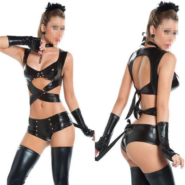 innovative design offer discounts cheap 2019 Sexy Black Leather Lingerie Jumpsuit Garter Set Sexy Bodysuit Fancy  Dress Backless For Women PVC Latex Costume Catsuit From Luckystar_dh,  $11.25 ...
