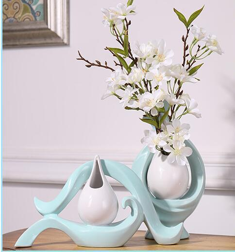 Modern Lucky Shape Ceramic Vase for Home Decor Tabletop this pirce is for a set vase and flowers together S01