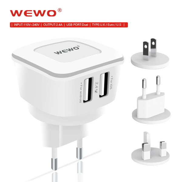 WEWO USB Wall Charger EU UK US Plug Chargers Power Adapter For iPhone 7 8 X Samsung With Retail Box Travel Charer Free Shipping