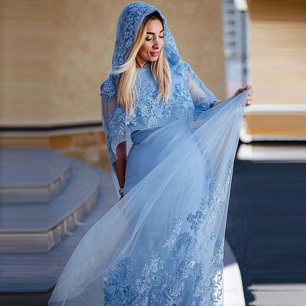 Beautiful Blue Prom Dresses with Cape Long Embroidery Appliques Beaded Sheath Sexy Party Cocktail Gowns Weddings Guest Dress