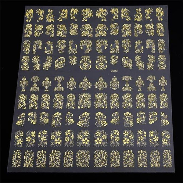 best selling 3D Nail Art Decorations Top Nail 108 Design Gold Foil Flowers Stickers For Nails 6 Color Metal Bronzing Decal 3D Nail Art Sticker Tips Decor