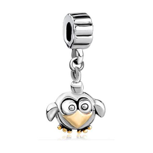 HK MYD Jewelry Penguin Bead In Rhodium and Gold Plating Lucky European Charm Fit Pandora Bracelet