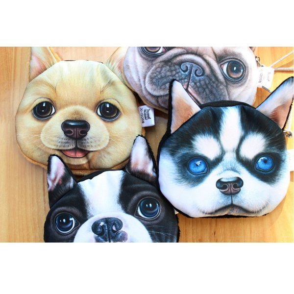 DHL Free Shipping 5 Style Harajuku Coin Purse Dog Face Purse Zipper Case Coin Kids Purse 3D Digital Printing Wallets