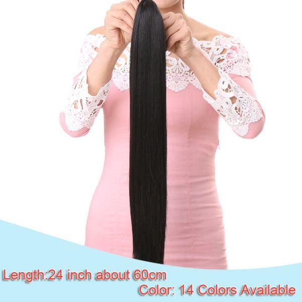 4f66b54b405 2017 24'' Long Black Synthetic Ponytail Long Hair Natural Fake Hair ...