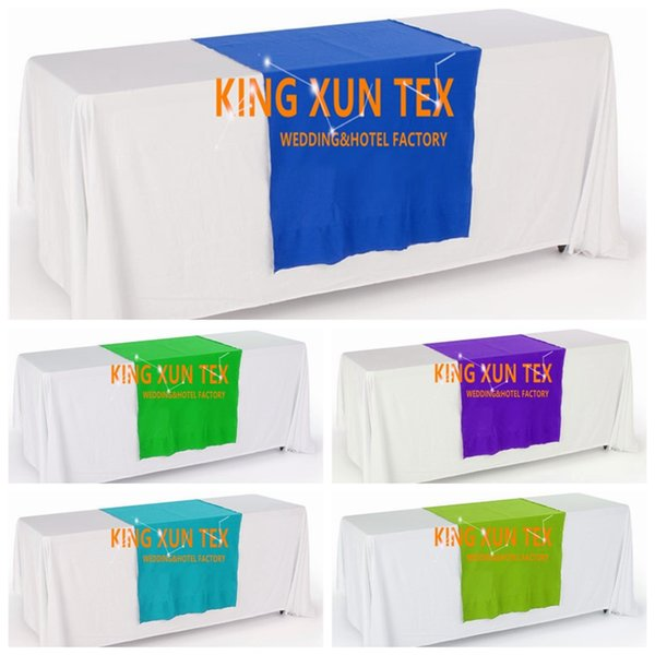 White Color Rectangular Polyester Table Cloth With Top Colors Table Runner For Wedding And Event Decoration