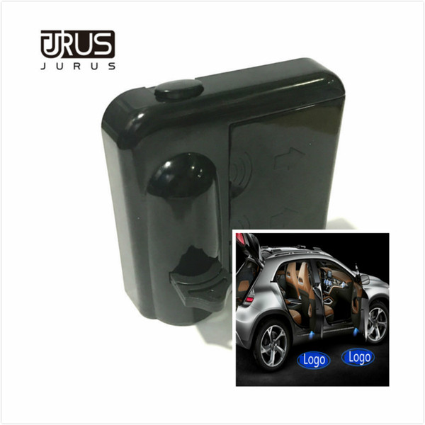 A pair LED Wireless Car Door Welcome Logo emblem Lights No Drill Type Badge For Kia Citroen Skoda Jeep car styling