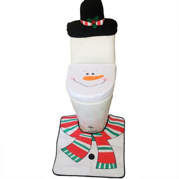 Новый Год Рождество Снеговик сиденье для унитаза крышка ткани коробка ковер из трех частей набор коврик для ванной комнаты набор Рождественский подарок украшения дома 6 компл. / Лот