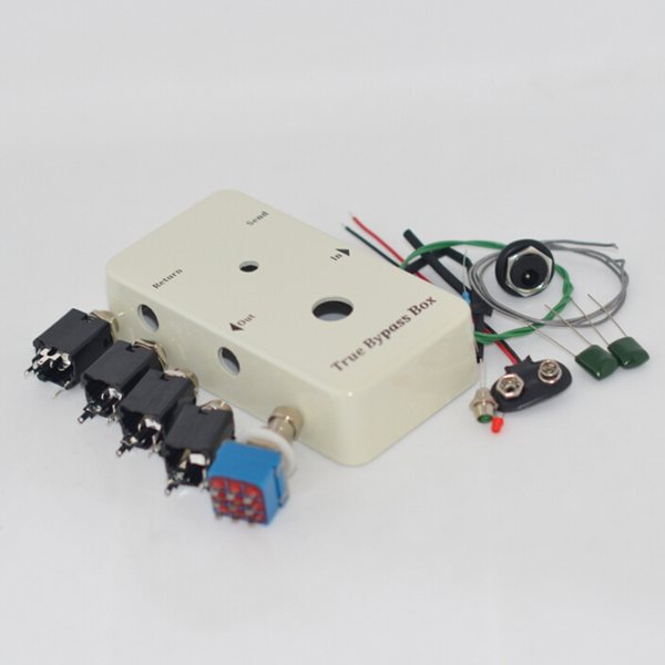 Looper PB-N1160/1590B DIY Guitar Pedals, Aluminum Pedals White Box Foot Pedal Switch Red/Green LED Lights Interface Solder