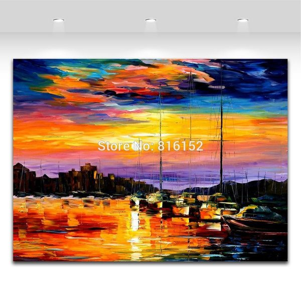 Golden Dust Harbor Resting Yacht Scene Palette Knife Oil Painting Picture Printed On Canvas For Office Home Wall Art Decor