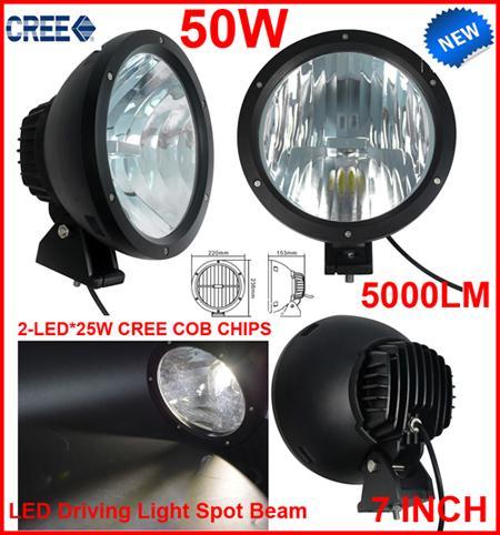 "2PCS 7"" 50W CREE LED Driving Work Light 2-COB*25W CHIP Offroad SUV ATV 4WD 4x4 Spot Pencil Beam 12/24V 5000lm Xenon White 6000K Replace HID"