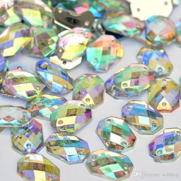 Wholesale-10*14mm Square Octagonal Crystal AB Rhinestone Sew On Flatback Acrylic Gems Strass Crystal Stones For Clothing Dress Decorations
