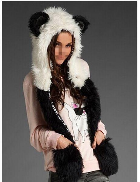 Winter Faux Fur Full Animal Wolf Hood Hat 3-in-1 Mittens Cartoon Scarf Gloves Spirit Paws Ears