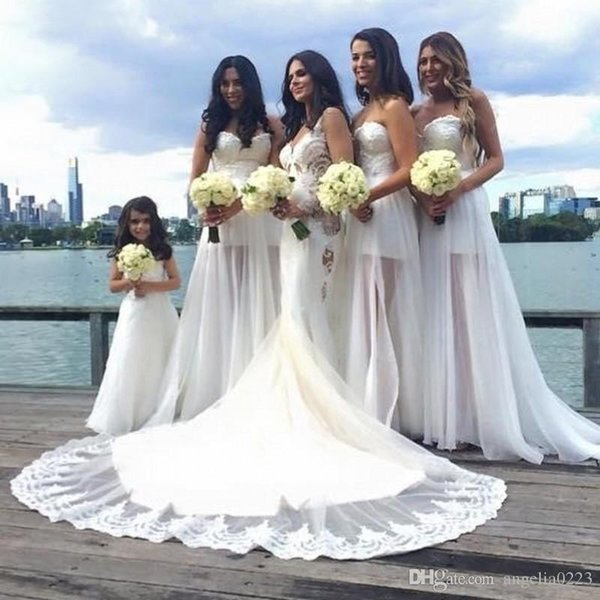 White Beach Bridesmaid Dresses 2016 New Sexy Strapless See Through ...