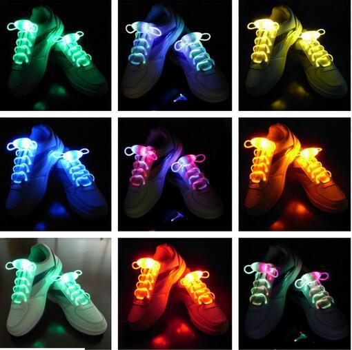 ücretsiz kargo Fiber Optik LED Ayakkabı bağcıkları ayakkabı bağcıkları neon led güçlü ışık yanıp sönen ayakkabı bağı toptan! 200 adet / grup (100 çift)