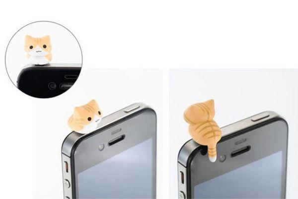 Großhandels-nette 6pcs Käse-Katze 3.5mm Antistaub-Kopfhörer-Steckfassungs-Stopper Schmutz-beständige Karikatur-Staub-Steckkappe für hochwertiges